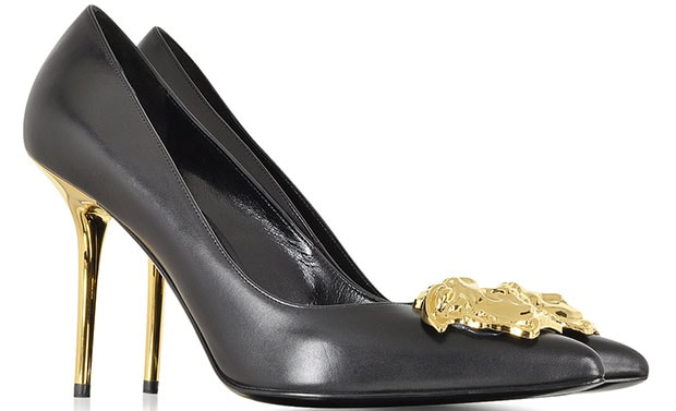 Versace Black Leather with Golden Medusa Pumps