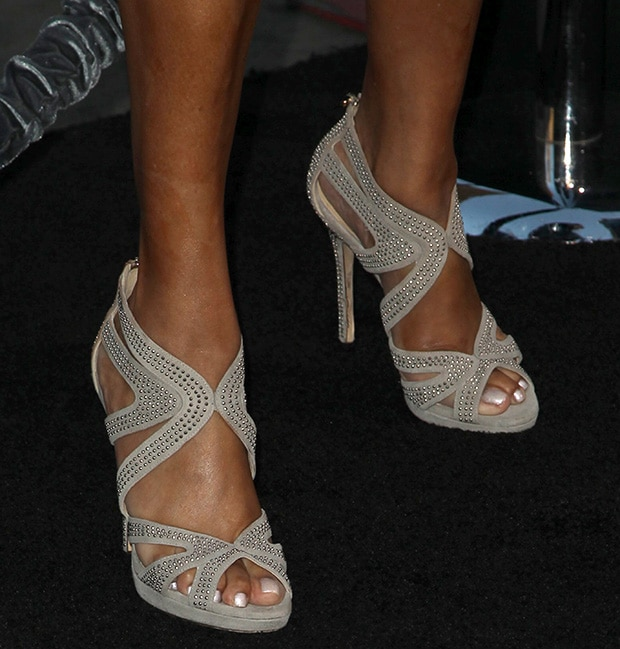 Vivica A. Fox showing off her feet in cage sandals
