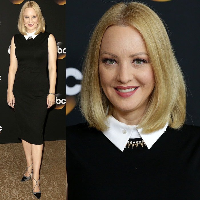 Wendi McLendon-Covey contrasted the stiff white oxford collar on her LBD with a gold-spike necklace and bold Balenciaga Fall 2008 pumps