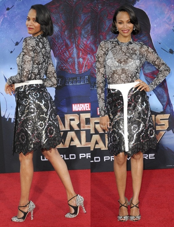 Zoe Saldana at the premiere of Marvel's 'Guardians of Galaxy' at the Dolby Theatre in Hollywood, Los Angeles, on July 21, 2014