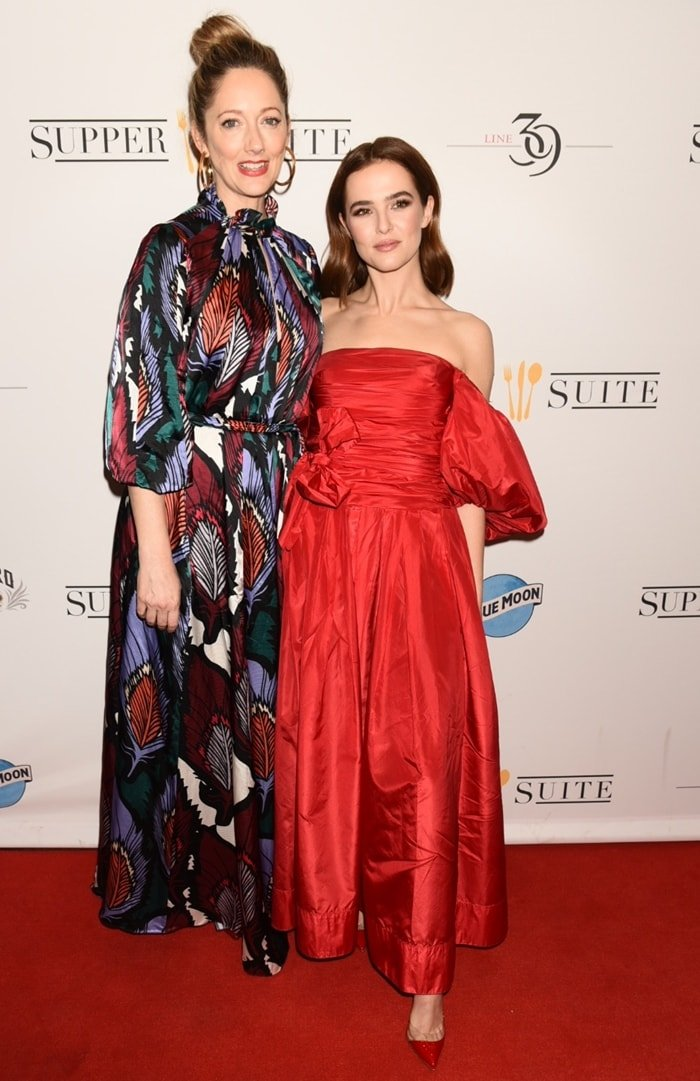 """Actress/producer Zoey Deutch and actress Judy Greer attend the premiere for """"Buffaloed"""""""