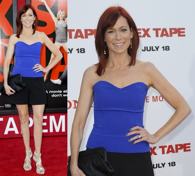 Carrie Preston in sky-high snake-print platform sandals at the premiere of 'Sex Tape' in Los Angeles on July 10, 2014