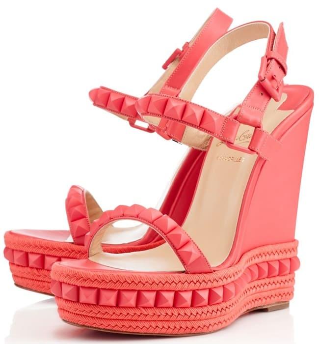 christian louboutin cataclou wedge sandals pink