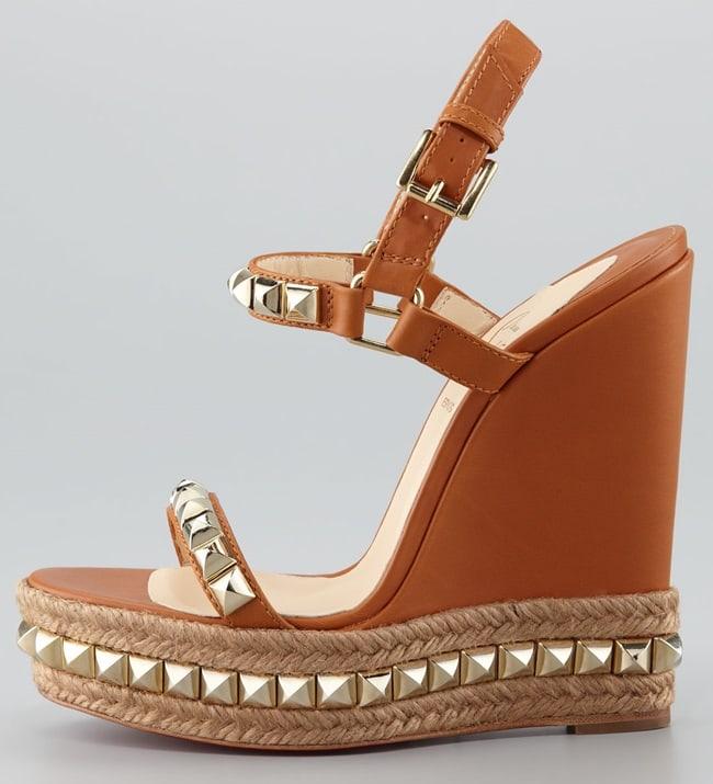 christian louboutin cataclou wedge sandals tan