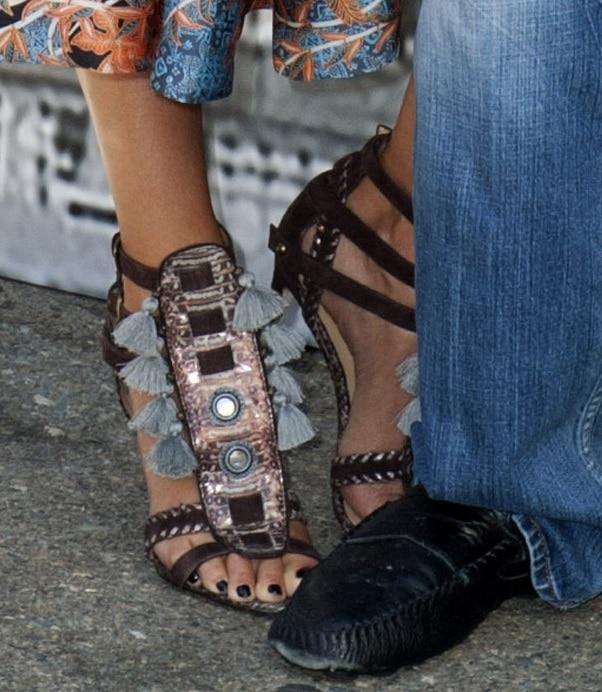 A closer look at Jessica's gladiator sandals