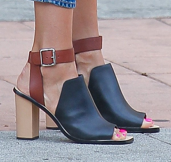A closer look at Jessica's ankle-wrap mules