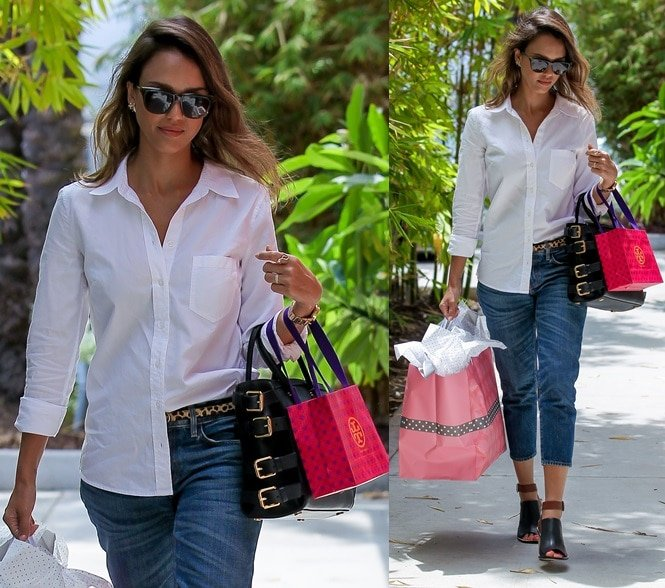 Jessica Alba spotted shopping at Target and Tory Burch in Los Angeles on July 18, 2014