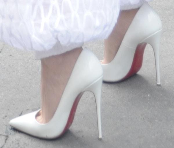 Kristen Stewart wearing white So Kate heels from Christian Louboutin