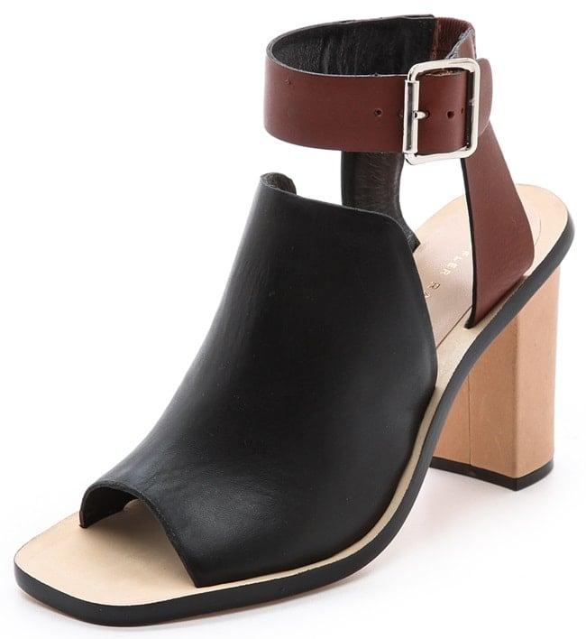 Loeffler Randall Maisy Ankle-Wrap Sandals in Black/Saddle