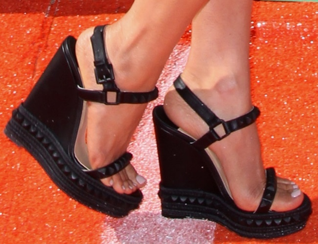 A closer look at Megan's studded ankle-strap wedges