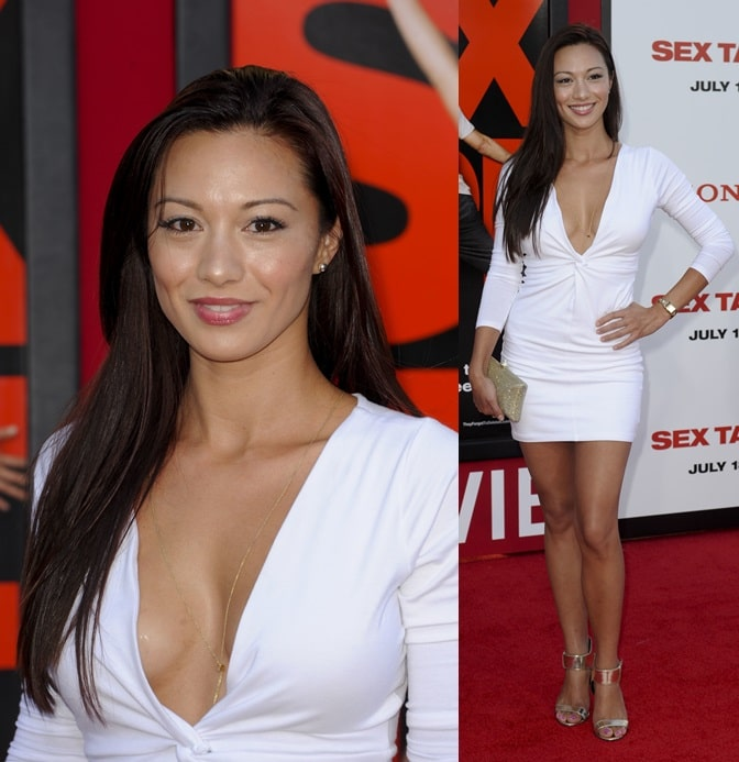 Melissa Paulo looking stunning in her little white dress and ankle-strap sandals as she hits the red carpet for the premiere of 'Sex Tape' in Los Angeles on July 10, 2014