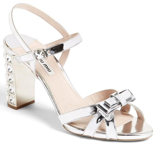 Miu Miu Jeweled-Heel Bow-Detailed Sandals