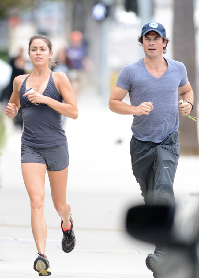 Nikki Reed and Ian Somerhalder go for a run