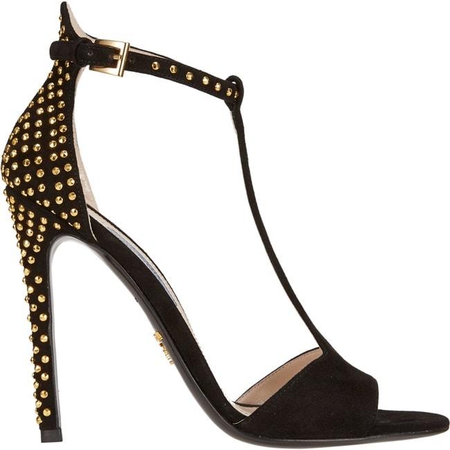 Prada Studded T-Strap Sandals