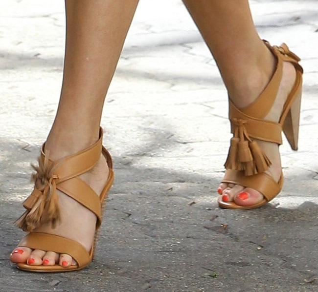 A closer look at Reese's high-heeled sandals
