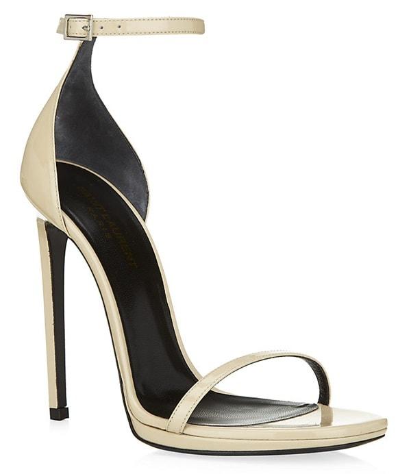 Saint Laurent Jane Sandals in Nude Patent Leather