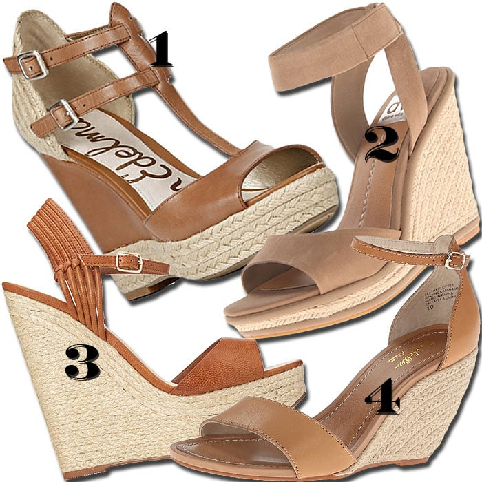 Tan espadrille wedges for women