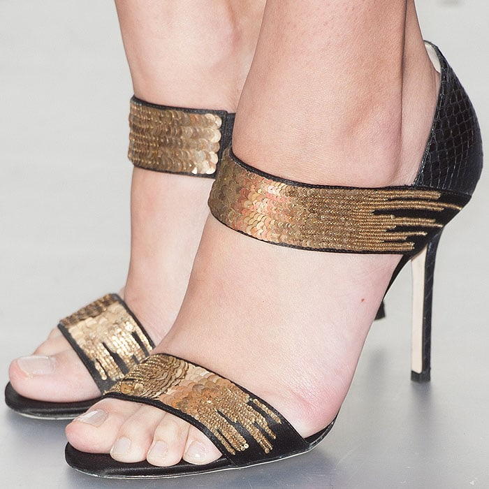 Amber Le Bon wearing Jimmy Choo Tallow sandals
