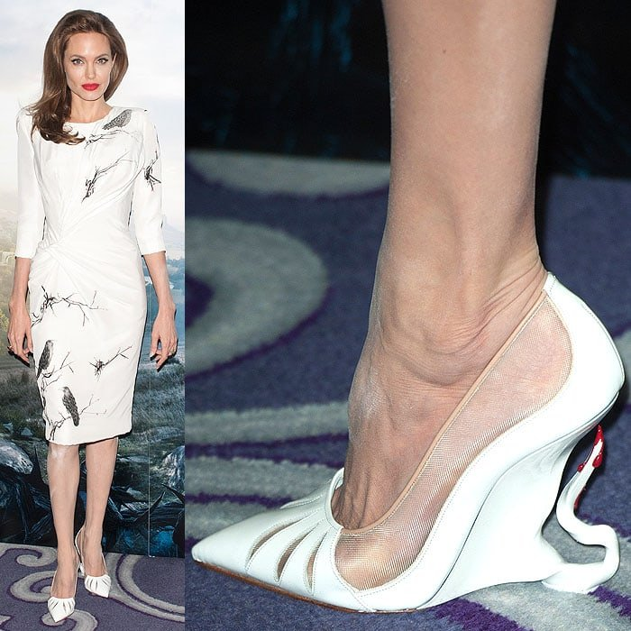 Angelina Jolie Louboutin Maleficent wedges white