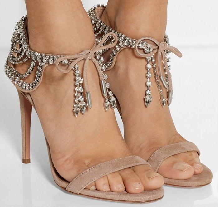 Aquazzura Olivia Palermo embellished suede sandals