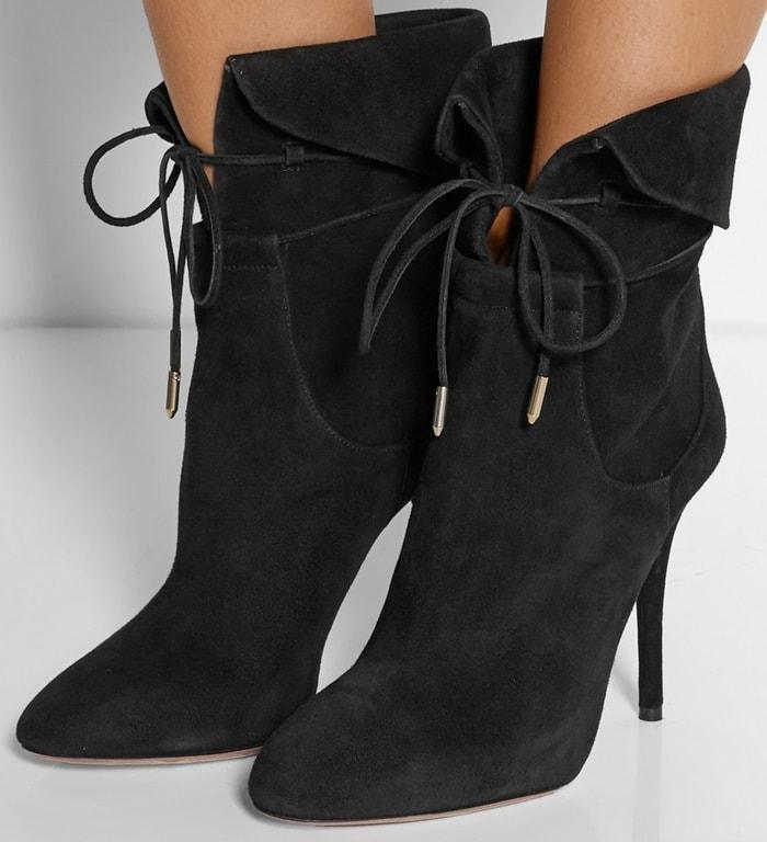 Aquazzura Olivia Palermo suede ankle boots black
