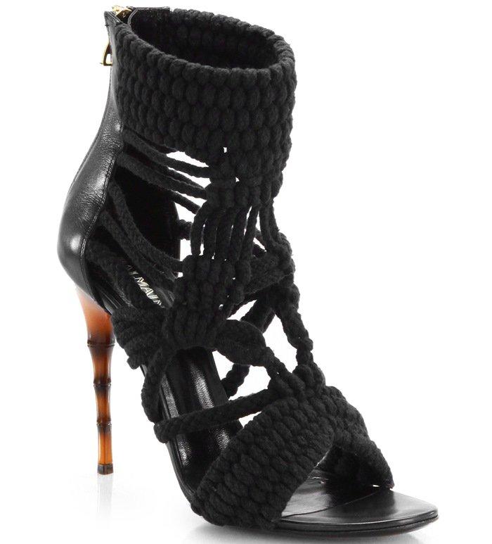 Balmain Black Braided Rope Sandals