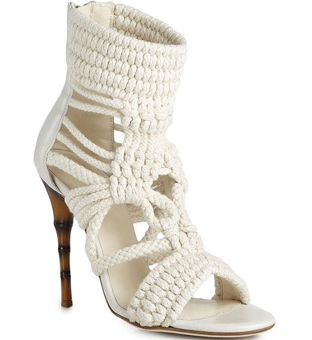 Balmain Braided Cotton and Leather Sandals