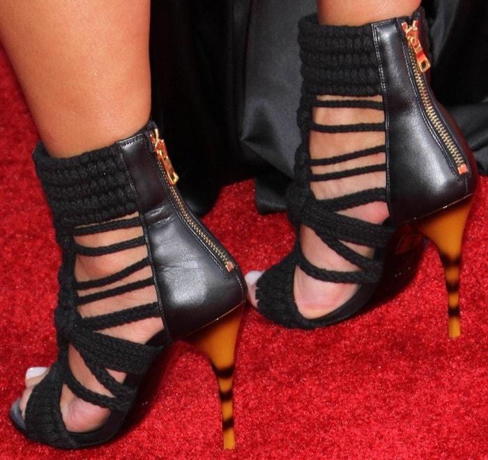 Kim Kardashian wearing braided-rope sandals by Balmain