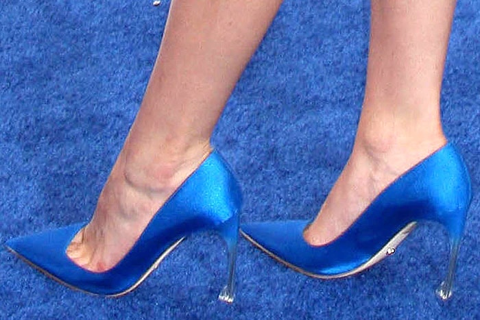 Blue satin Christian Dior pumps on Bella Thorne