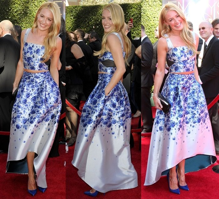 Cat Deeley donned a porcelain blue Victorian floral-print top-and-skirt outfit from Sachin & Babi Noir Spring 2015 collection