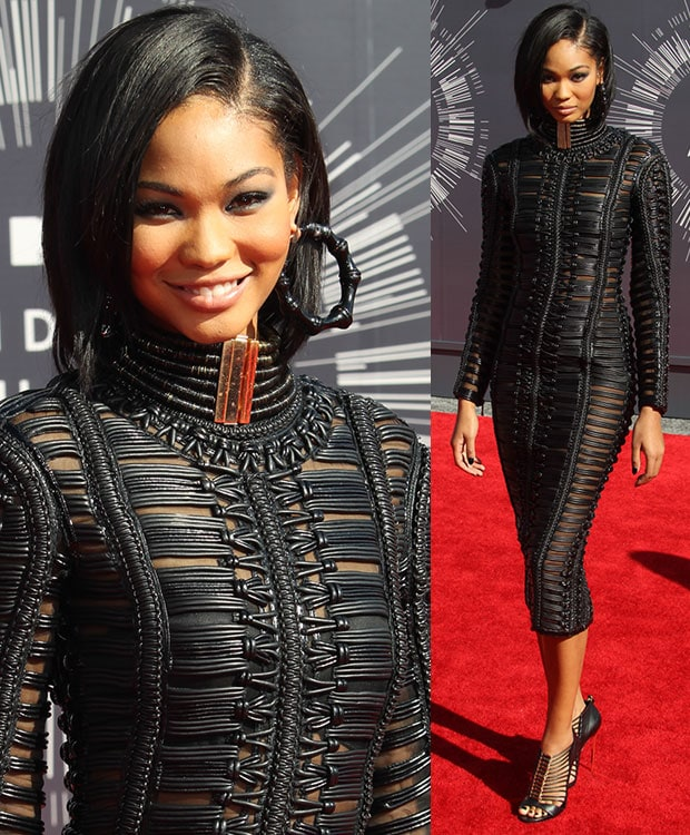 Chanel Iman gave onlookers a glimpse of her skin and a clear view of her model figure in a fitted leather woven dress