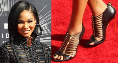 398bfddb19a Chanel Iman Channels Bondage Look in Balmain Dress and Casadei Heels