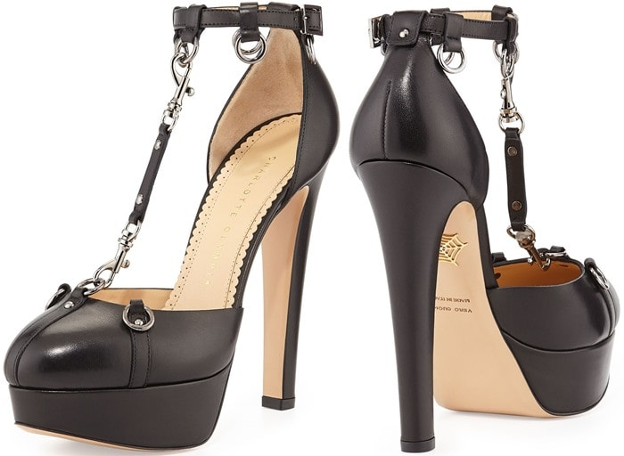 "Charlotte Olympia ""Lady Danger"" T-Strap Chain Pumps"