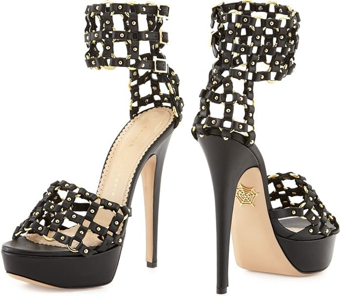 "Charlotte Olympia ""Xena"" Triple-Buckle Leather Platform Sandals"