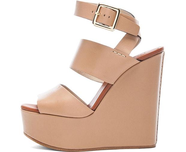 Chloe Leather Wedge Sandals