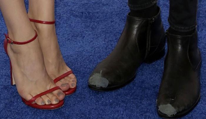 Chloe Moretz wearing red Nudist sandals