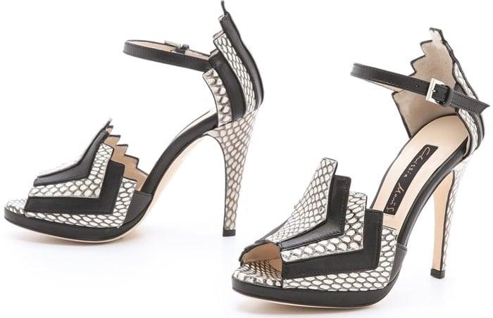 Chrissie Morris Black La Roisin Snakeskin Sandals