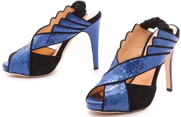 Chrissie Morris Tellier Holographic Python Sandals Blueblack