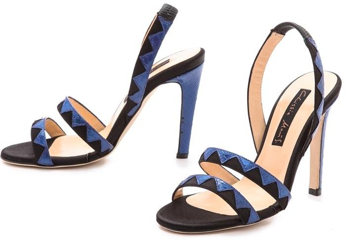 Chrissie Morris Tina Python Sandals Blackblue