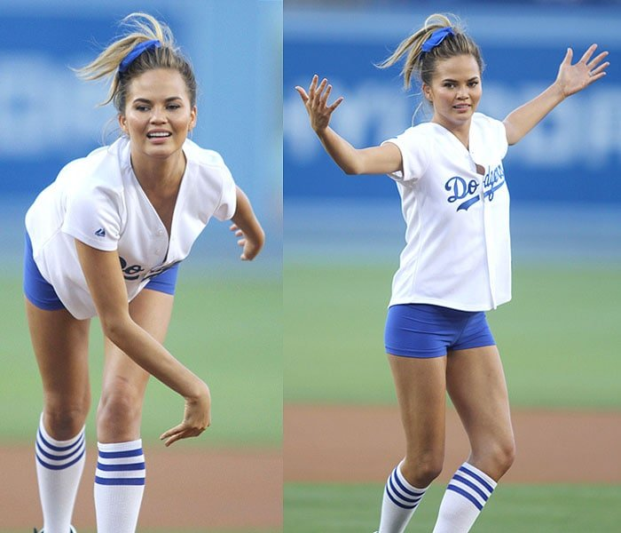 Chrissy Teigen before and after throwing the ceremonial first pitch at the Los Angeles Dodgers vs. Los Angeles Angels baseball game at Dodger Stadium in Los Angeles, California, on August 5, 2014