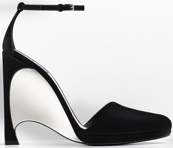 Christian Dior mirror wedge heel ankle strap pumps