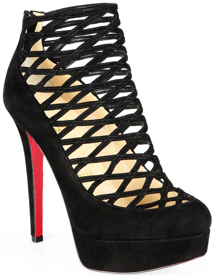 Christian Louboutin Black Berlinissimo Suede Cage Platform Ankle Boots
