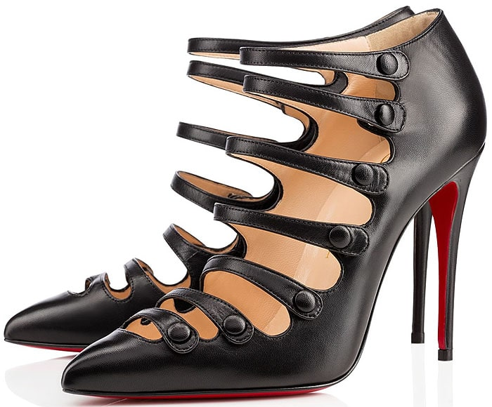 """Christian Louboutin """"Viennana"""" Strappy Pumps in Black Kid Leather"""