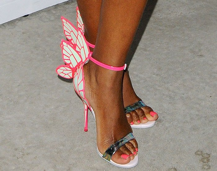 DJ Kiss wearing Sophia Webster Chiara sandals