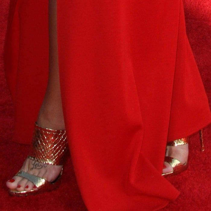 """Demi Lovato showing off her feet in gold snake-textured Giuseppe Zanotti """"Coline"""" sandals"""
