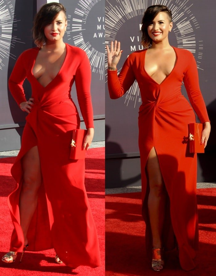 Demi Lovato donned a red long-sleeved dress from Lanvin