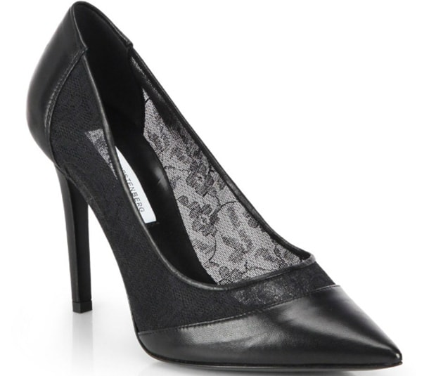 Diane von Furstenberg Bianca Leather & Lace Pumps