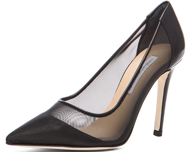 Diane von Furstenberg Bianca Mesh & Leather Pumps