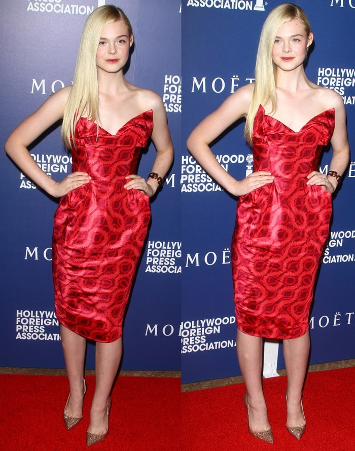 Elle Fanning wearing 'Iriza' d'Orsay pumps from the Christian Louboutin Fall 2014 collection featuring lichen strass and 120 mm heels
