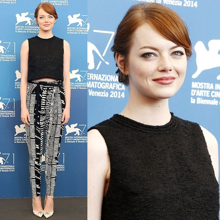 Emma Stone at the photo call for her new movie, 'Birdman', held during the 2014 Venice Film Festival in Venice, Italy, on August 27, 2014